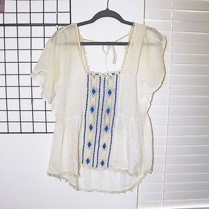 high/ low detail blouse